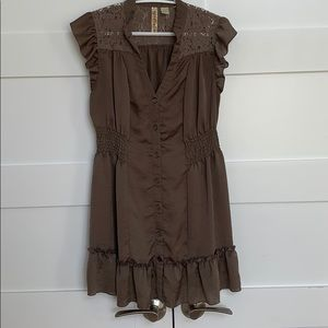Luster Tunic Top with Lace and Ruffle Cap Sleeves